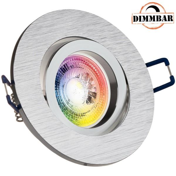 RGB LED Einbaustrahler Set GU10 in aluminium gebürstet mit 3W LED von LEDANDO - 11 Farben + Kaltweiß - inkl. Fernbedienung - dimmbar - rund