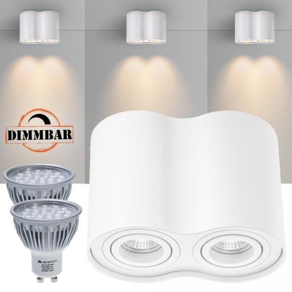 2er LED Aufbaustrahler Set ZYLINDER Weiss mit LED GU10  Markenstrahler von LEDANDO - 5W DIMMBAR - warmweiss - 60° Abstrahlwinkel - schwenkbar - 50W Ersatz - A+ - Aluminium - Aufbauspot