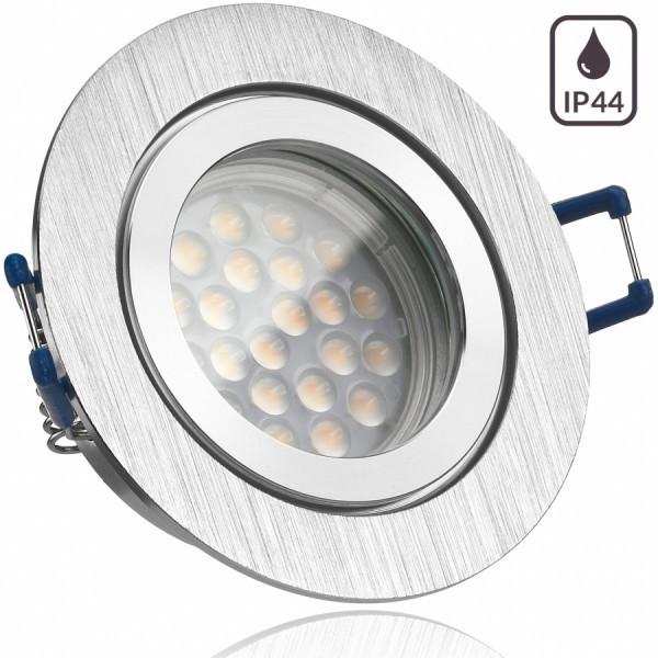 IP44 LED Einbaustrahler Set Bicolor (chrom / gebürstet) mit LED GU10 Markenstrahler von LEDANDO - 5W - warmweiss - 60° Abstrahlwinkel - Feuchtraum / Badezimmer - 50W Ersatz - A+ - LED Spot 5 Watt - Einbauleuchte rund