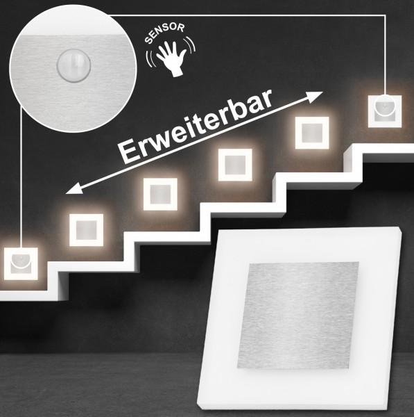 Set LED Treppenbeleuchtung Warmweiß 3000K inklusive zwei Einheiten mit Bewegungsmelder und 15W Trafo