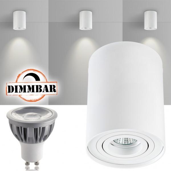 LED Aufbaustrahler Set ZYLINDER Weiss mit LED GU10  Markenstrahler von LEDANDO - 5W DIMMBAR - warmweiss - 40° Abstrahlwinkel - schwenkbar - 50W Ersatz - A+ - Aluminium - Aufbauspot