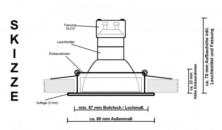 ip44 led einbaustrahler set silber geb rstet mit led gu10 markenstrahler von ledando 5w. Black Bedroom Furniture Sets. Home Design Ideas