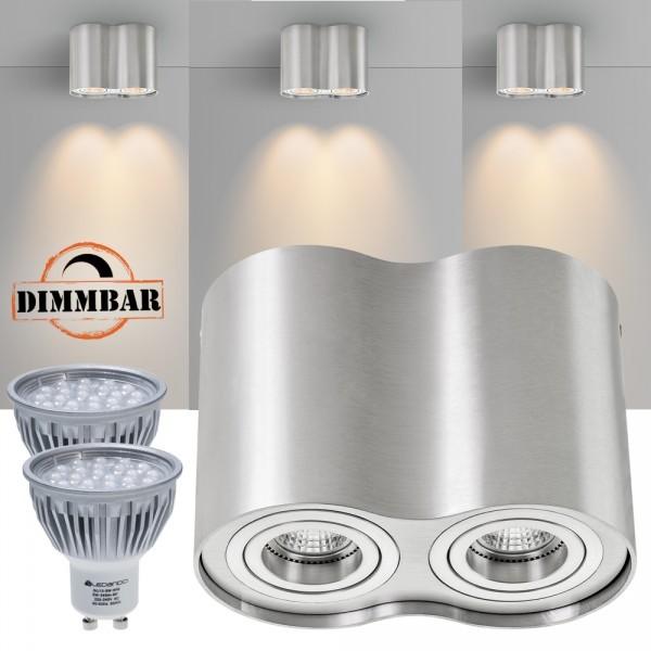 2er LED Aufbaustrahler Set ZYLINDER Aluminium mit LED GU10  Markenstrahler von LEDANDO - 5W DIMMBAR - warmweiss - 60° Abstrahlwinkel - schwenkbar - 50W Ersatz - A+ - Aluminium - Aufbauspot