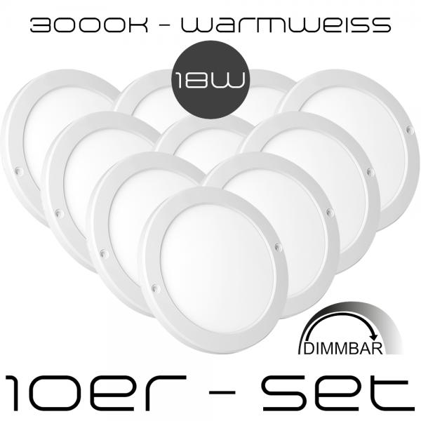 10er-Set LED Aufbaupanel 18 Watt Ultra Flach - Dimmbar - nur 1,8 cm - Rund - LED Panel - Warmweiß - 3000K