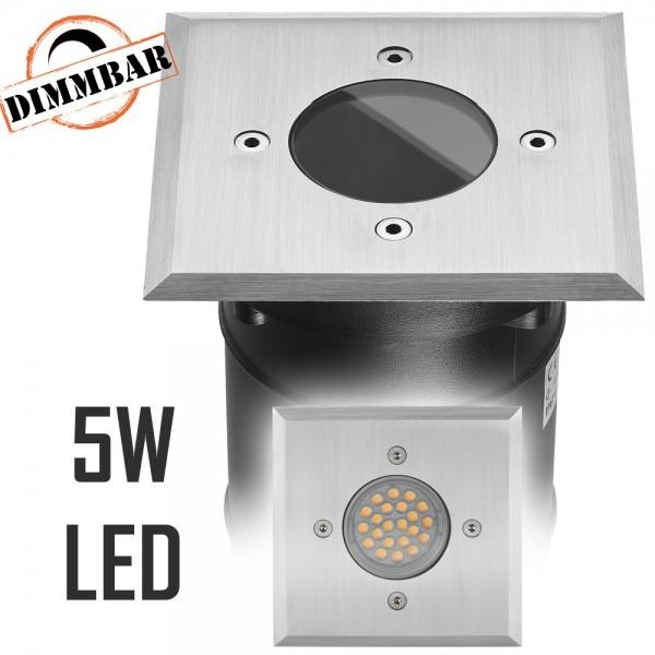 LED Bodeneinbaustrahler Set mit LED GU10 Markenstrahler von LEDANDO - 5W DIMMBAR - 345lm - warmweiß - eckig - IP67 - Blende Edelstahl - belastbar 2t - 50W Ersatz - 60° Abstrahlwinkel - A+ [Bodeneinbauleuchte Bodenleuchte Bodenlampe]