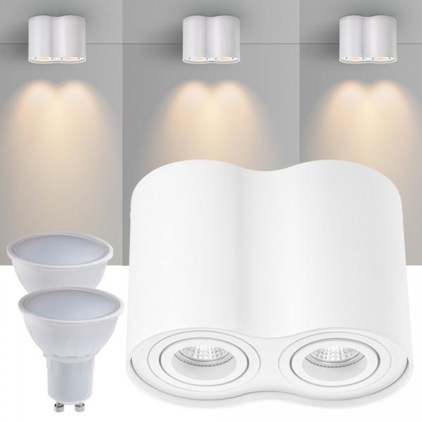 2er LED Aufbaustrahler Set ZYLINDER Weiss mit LED GU10  Markenstrahler von LEDANDO - 5W - warmweiss - 120° Abstrahlwinkel - schwenkbar - 35W Ersatz - A+ - Aluminium - Aufbauspot