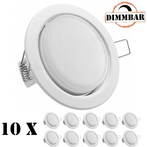 Bevorzugt 10er LED Einbauleuchten Set extra flach in Weiß mit LED GX53 YJ03