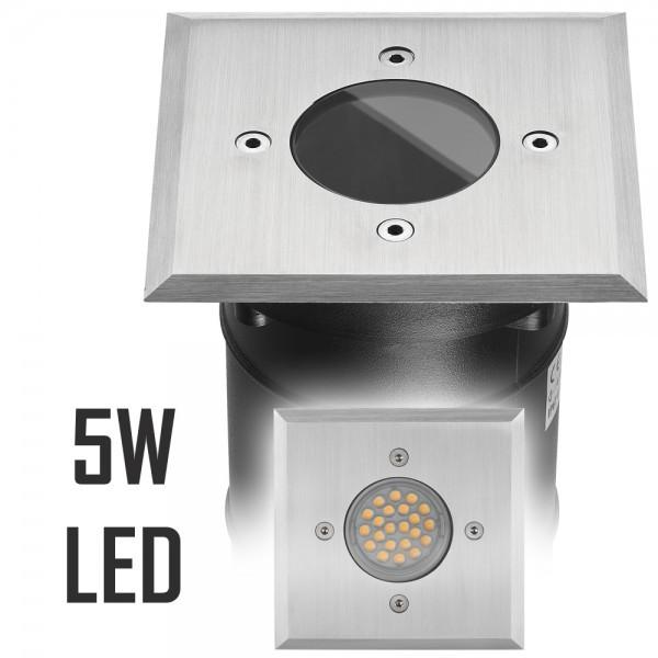 LED Bodeneinbaustrahler Set mit LED GU10 Markenstrahler von LEDANDO - 5W - 345lm - warmweiß - eckig - IP67 - Blende Edelstahl - belastbar 2t - 50W Ersatz - 60° Abstrahlwinkel - A+ [Bodeneinbauleuchte Bodenleuchte Bodenlampe]