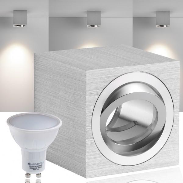 LED Aufbaustrahler Set CUBE mit LED GU10  Markenstrahler von LEDANDO - 5W - warmweiss - 120° Abstrahlwinkel - schwenkbar - 35W Ersatz - A+ - Aluminium - Aufbauspot