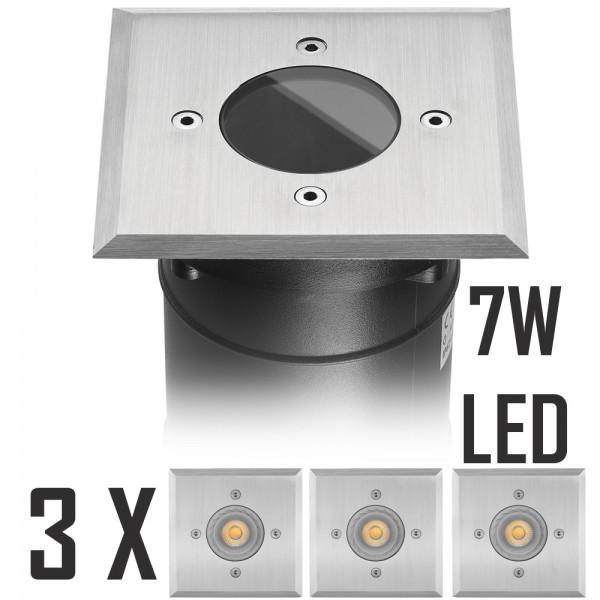 3er LED Bodeneinbaustrahler Set mit LED GU10 Markenstrahler von LEDANDO - 7W - 530lm - warmweiß - eckig - IP67 - Blende Edelstahl - belastbar 2t - 50W Ersatz - 30° Abstrahlwinkel - A+ [Bodeneinbauleuchte Bodenleuchte Bodenlampe]