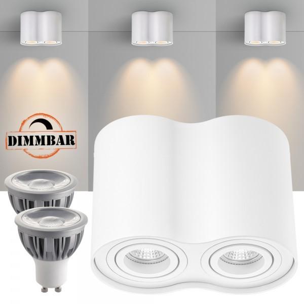 2er LED Aufbaustrahler Set ZYLINDER Weiss mit LED GU10  Markenstrahler von LEDANDO - 5W DIMMBAR - warmweiss - 40° Abstrahlwinkel - schwenkbar - 50W Ersatz - A+ - Aluminium - Aufbauspot