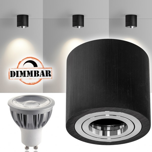 LED Aufbaustrahler Set GLOBE Schwarz mit LED GU10  Markenstrahler von LEDANDO - 5W DIMMBAR - warmweiss - 40° Abstrahlwinkel - schwenkbar - 50W Ersatz - A+ - Aluminium - Aufbauspot