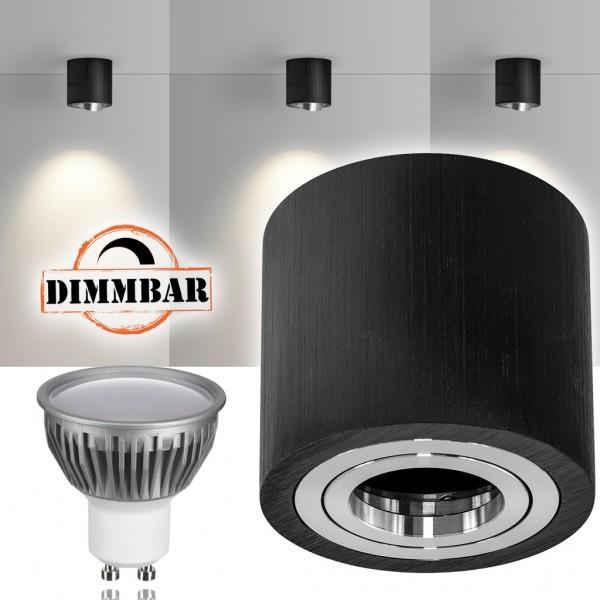 LED Aufbaustrahler Set GLOBE Schwarz mit LED GU10  Markenstrahler von LEDANDO - 5W DIMMBAR - warmweiss - 110° Abstrahlwinkel - schwenkbar - 35W Ersatz - A+ - Aluminium - Aufbauspot