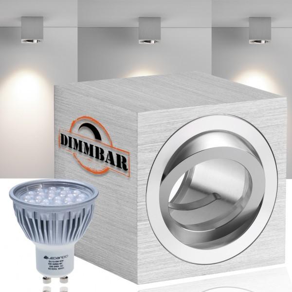 LED Bodeneinbaustrahler Set mit LED GU10 Markenstrahler von LEDANDO - 5W DIMMBAR - 345lm - warmweiß - rund - IP67 - Blende Edelstahl - belastbar 2t - 50W Ersatz - 60° Abstrahlwinkel - A+ [Bodeneinbauleuchte Bodenleuchte Bodenlampe]
