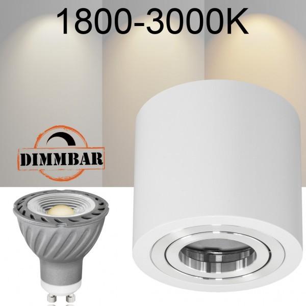 LED Aufbaustrahler Set GLOBE Weiss - 1800-3000K - Ra >95 - 7W DIMMBAR - warmweiss - 60° Abstrahlwinkel - schwenkbar - 50W Ersatz - A+ - Aluminium - Aufbauspot