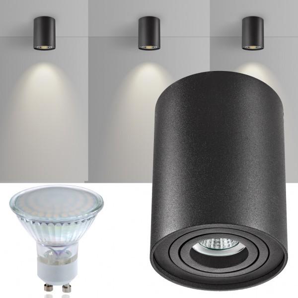 led aufbaustrahler set zylinder schwarz mit led gu10. Black Bedroom Furniture Sets. Home Design Ideas