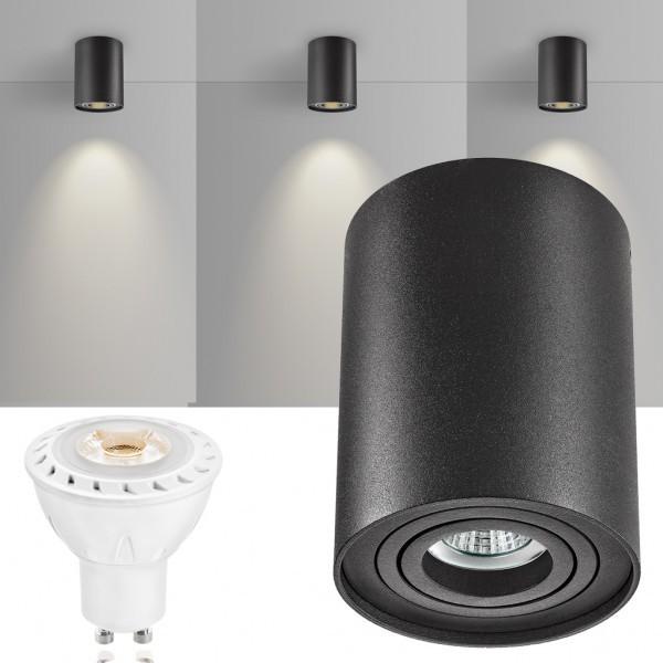 LED Aufbaustrahler Set ZYLINDER Schwarz mit LED GU10  Markenstrahler von LEDANDO - 7W COB Leuchtmittel - warmweiss - 30° Abstrahlwinkel - schwenkbar - 50W Ersatz - A+ - Aluminium - Aufbauspot