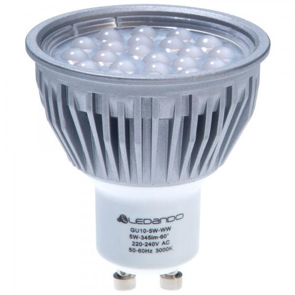 ledando led 5w led gu10 lampe warmwei silber aus. Black Bedroom Furniture Sets. Home Design Ideas