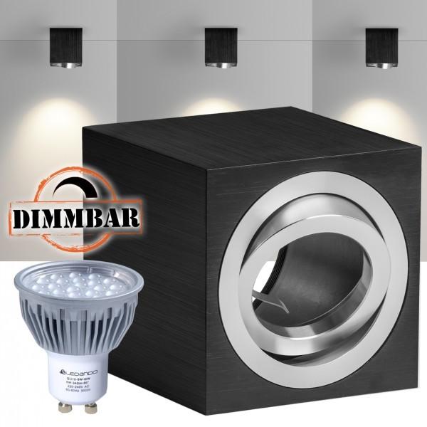 led aufbaustrahler set cube schwarz mit led gu10. Black Bedroom Furniture Sets. Home Design Ideas