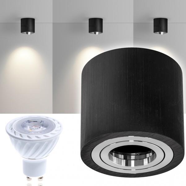 LED Aufbaustrahler Set GLOBE Schwarz mit LED GU10  Markenstrahler von LEDANDO - 7W COB Leuchtmittel - warmweiss - 30° Abstrahlwinkel - schwenkbar - 50W Ersatz - A+ - Aluminium - Aufbauspot