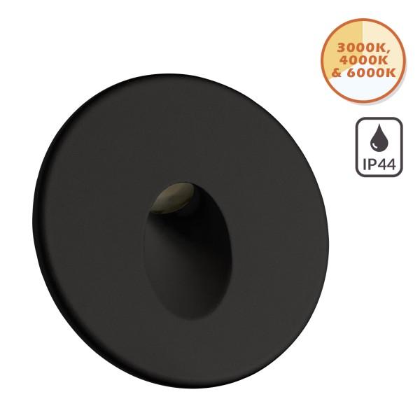 IP44 LED Treppenbeleuchtung 3-Color 3000K / 4000K / 6000K - 3W - schwarz - für Schalterdoseneinbau 60mm - rund - warmweiß - neutralweiß - kaltweiß - 230V [Stufenbeleuchtung - Wandbeleuchtung]