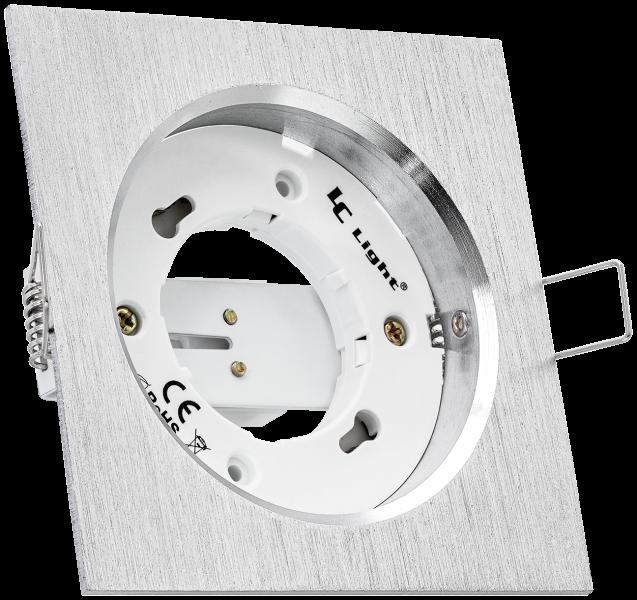 Alu-Einbaustrahler eckig aluminium gebürstet für GX53 Leuchtmittel - extra flach - 40mm Aufbauhöhe - Deckenstrahler - Deckenlampe - Einbaulampe - Einbauleuchte