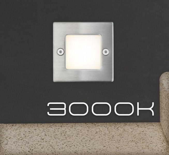 LED Einbauleuchte mit Edelstahlabdeckung und Milchglas für den Einsatz in Wand, Treppe oder Boden - Warmweiß 3000K - Orientierungslicht mit max. 1W Leistung - 230V Direktanschluss - Schutzart IP54 - quadratisch