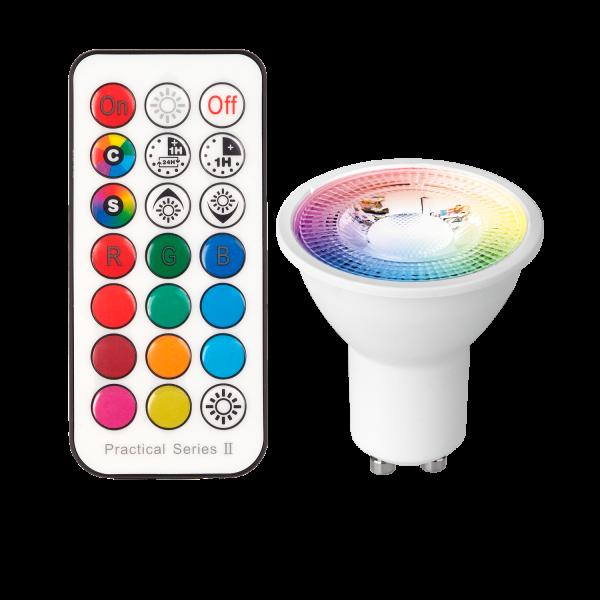 RGB GU10 LED Leuchtmittel 3W mit IR-Fernbedienung - 11 Farben + Kaltweiss - Dimmbar