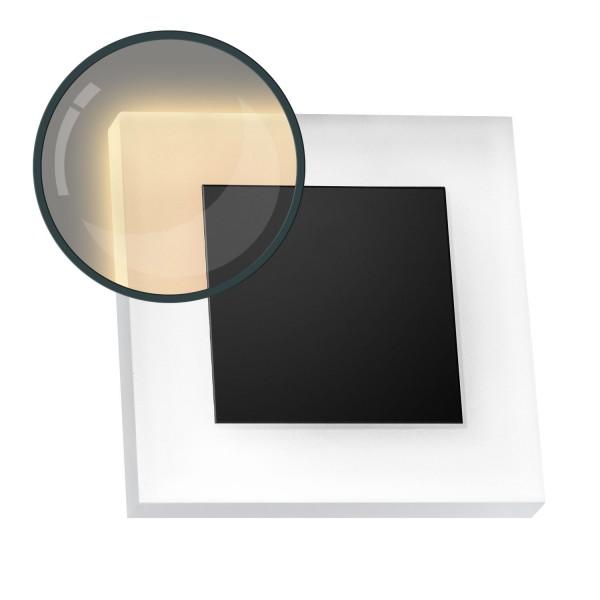 Flexible LED Treppenbeleuchtung mit schwarzer Edelstahl-Abdeckung für Schalterdoseneinbau 68mm / 60m