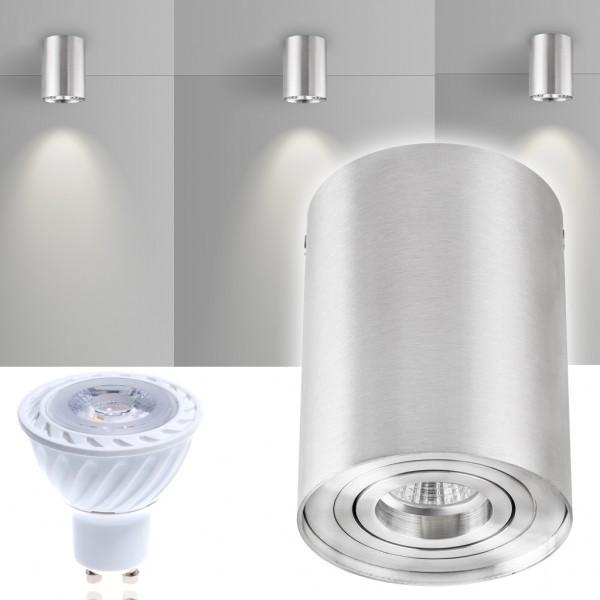 LED Aufbaustrahler Set ZYLINDER Aluminium mit LED GU10  Markenstrahler von LEDANDO - 7W COB Leuchtmittel - warmweiss - 30° Abstrahlwinkel - schwenkbar - 50W Ersatz - A+ - Aluminium - Aufbauspot