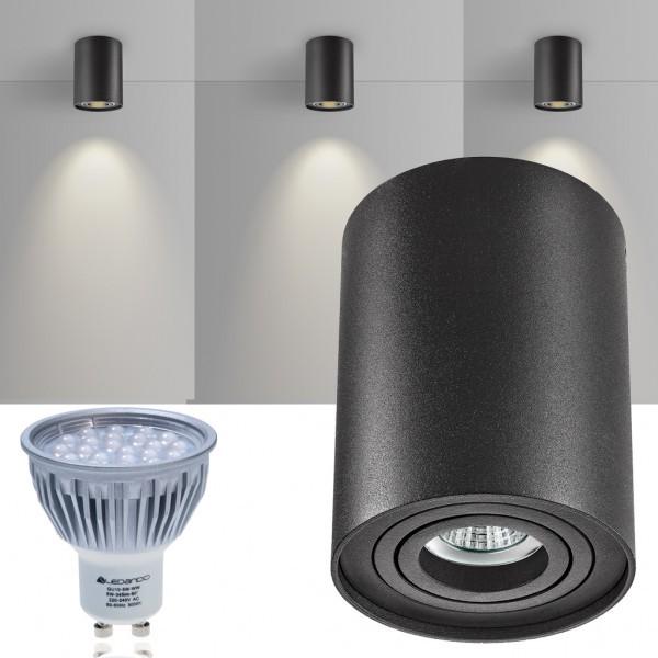 LED Aufbaustrahler Set ZYLINDER Schwarz mit LED GU10  Markenstrahler von LEDANDO - 5W - warmweiss - 60° Abstrahlwinkel - schwenkbar - 50W Ersatz - A+ - Aluminium - Aufbauspot
