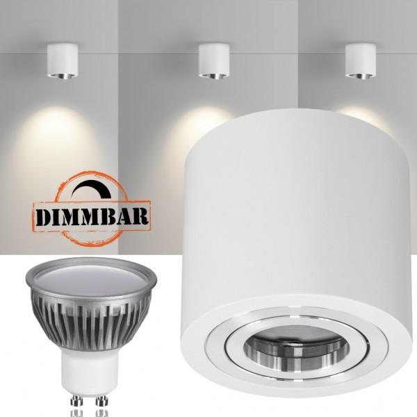 LED Aufbaustrahler Set GLOBE Weiss mit LED GU10  Markenstrahler von LEDANDO - 5W DIMMBAR - warmweiss - 110° Abstrahlwinkel - schwenkbar - 35W Ersatz - A+ - Aluminium - Aufbauspot