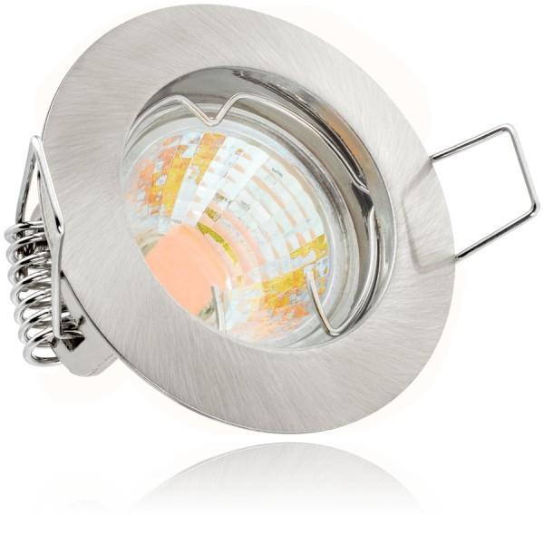 LED Einbaustrahler Set Silber gebürstet mit LED MR11 / GU5.3 Markenstrahler von LEDANDO - 2W - 160lm - warmweiss - 60° Abstrahlwinkel - 20W Ersatz - A++ - LED Spot 2 Watt - Einbauleuchte LED rund