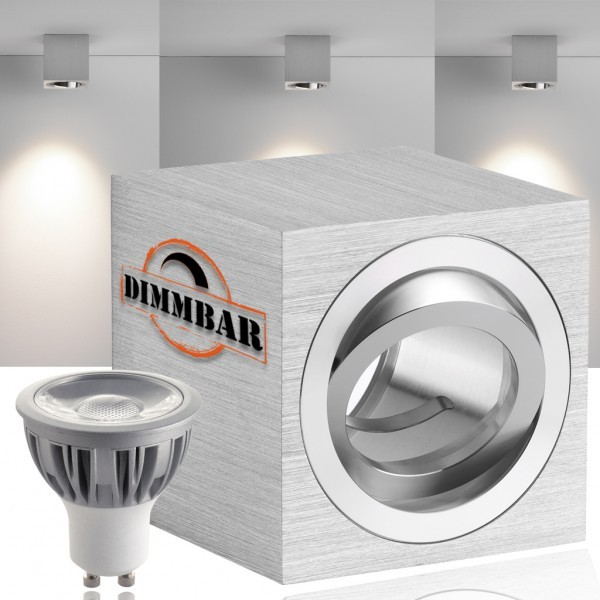 LED Aufbaustrahler Set CUBE mit LED GU10  Markenstrahler von LEDANDO - 5W COB DIMMBAR - warmweiss - 40° Abstrahlwinkel - schwenkbar - 50W Ersatz - A+ - Aluminium - Aufbauspot