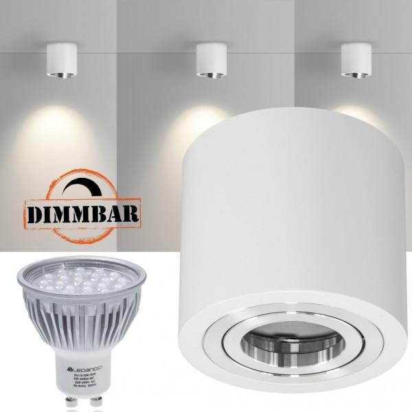 LED Aufbaustrahler Set GLOBE Weiss mit LED GU10  Markenstrahler von LEDANDO - 5W DIMMBAR - warmweiss - 60° Abstrahlwinkel - schwenkbar - 50W Ersatz - A+ - Aluminium - Aufbauspot
