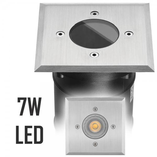 LED Bodeneinbaustrahler Set mit LED GU10 Markenstrahler von LEDANDO - 7W - 530lm - warmweiß - eckig - IP67 - Blende Edelstahl - belastbar 2t - 50W Ersatz - 30° Abstrahlwinkel - A+ [Bodeneinbauleuchte Bodenleuchte Bodenlampe]