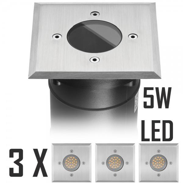 3er LED Bodeneinbaustrahler Set mit LED GU10 Markenstrahler von LEDANDO - 5W - 345lm - warmweiß - eckig - IP67 - Blende Edelstahl - belastbar 2t - 50W Ersatz - 60° Abstrahlwinkel - A+ [Bodeneinbauleuchte Bodenleuchte Bodenlampe]