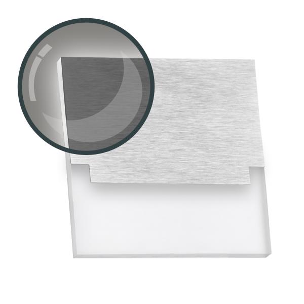 1er Erweiterung - Flexible LED Treppenbeleuchtung mit Edelstahl-Abdeckung für Schalterdoseneinbau 68mm / 60mm oder Wandmontage - eckig - Kaltweiß 6500K [Stufenbeleuchtung - Wandbeleuchtung - indirekt]