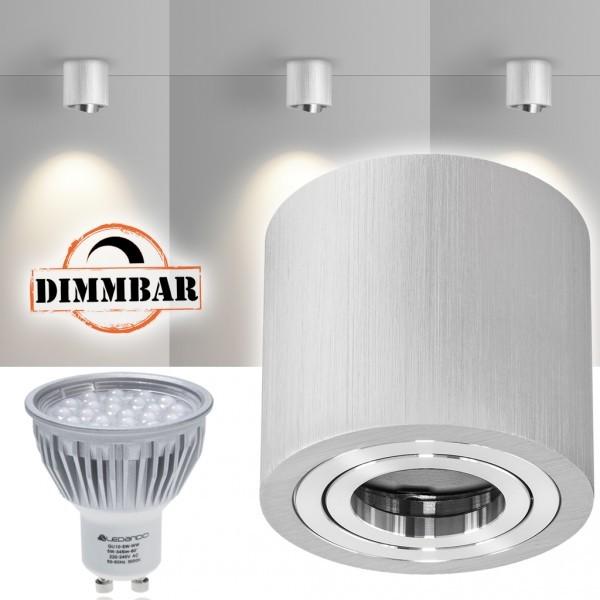 LED Aufbaustrahler Set GLOBE Bicolor mit LED GU10  Markenstrahler von LEDANDO - 5W DIMMBAR - warmweiss - 60° Abstrahlwinkel - schwenkbar - 50W Ersatz - A+ - Aluminium - Aufbauspot