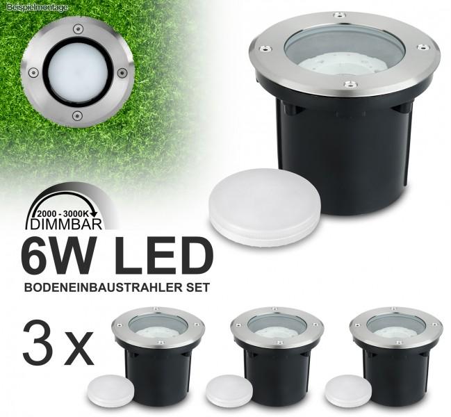 3er Set LED Bodeneinbaustrahler mit tauschbarem 6W LED GX53-Leuchtmittel - DimToWarm 200-3000K - warmweiß - rund - IP65 - Blende Edelstahl  [Bodeneinbauleuchte Bodenleuchte Bodenlampe]