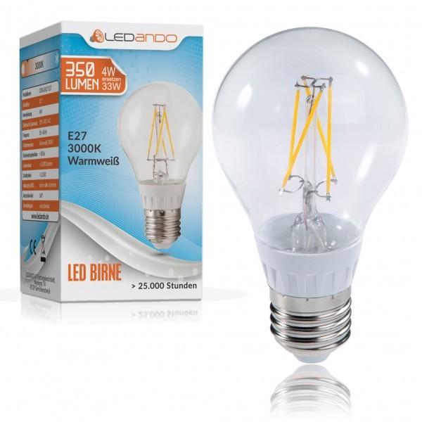 ledando e27 led birne 4 watt led e27 lampe gl hbrine gl hfaden filament warmwei a led e27. Black Bedroom Furniture Sets. Home Design Ideas