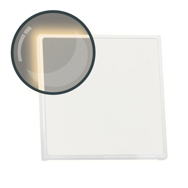 LED Treppenbeleuchtung EDGE aus Aluminium in eckig für Schalterdoseneinbau 68mm - Warmweiß 3000K - Farbe weiß [Stufenbeleuchtung - Wandbeleuchtung - indirekt]