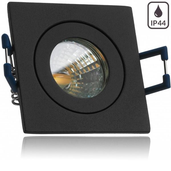 IP44 LED Mini Einbaustrahler Set in Anthrazit Grau mit LED MR11 / GU5.3 Strahler von LEDANDO - 2W - 160lm - warmweiss - 60° Abstrahlwinkel - 20W Ersatz - Bad / Dusche - Terrassendach - Wintergarten