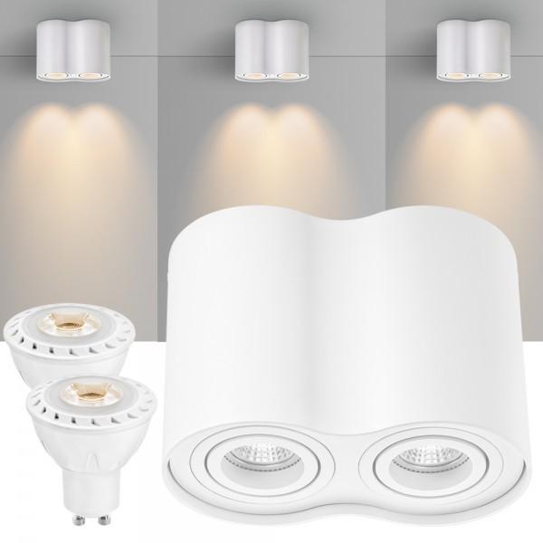 2er LED Aufbaustrahler Set ZYLINDER Weiss mit LED GU10  Markenstrahler von LEDANDO - 7W COB Leuchtmittel - warmweiss - 30° Abstrahlwinkel - schwenkbar - 50W Ersatz - A+ - Aluminium - Aufbauspot