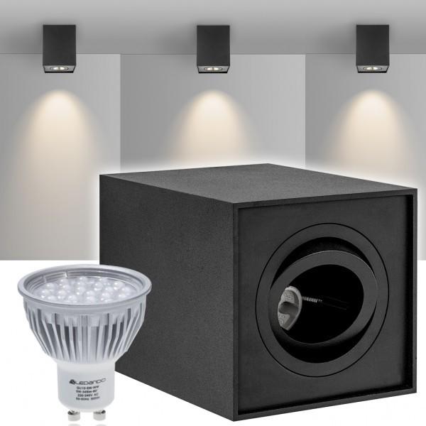 led aufbaustrahler set quadro schwarz mit led gu10. Black Bedroom Furniture Sets. Home Design Ideas