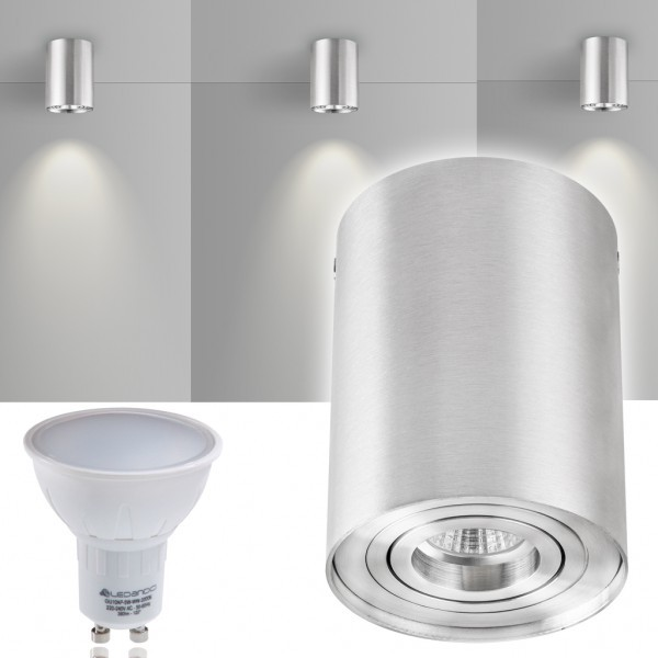 LED Aufbaustrahler Set ZYLINDER Aluminium mit LED GU10  Markenstrahler von LEDANDO - 5W - warmweiss - 120° Abstrahlwinkel - schwenkbar - 35W Ersatz - A+ - Aluminium - Aufbauspot