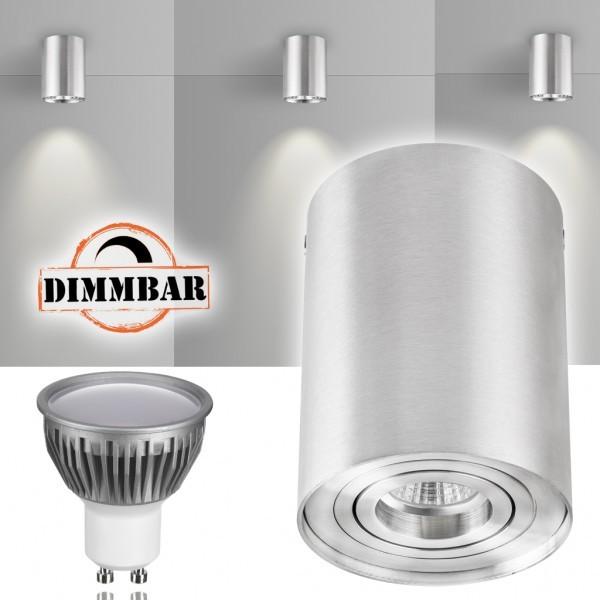 LED Aufbaustrahler Set ZYLINDER Aluminium mit LED GU10  Markenstrahler von LEDANDO - 5W DIMMBAR - warmweiss - 110° Abstrahlwinkel - schwenkbar - 35W Ersatz - A+ - Aluminium - Aufbauspot