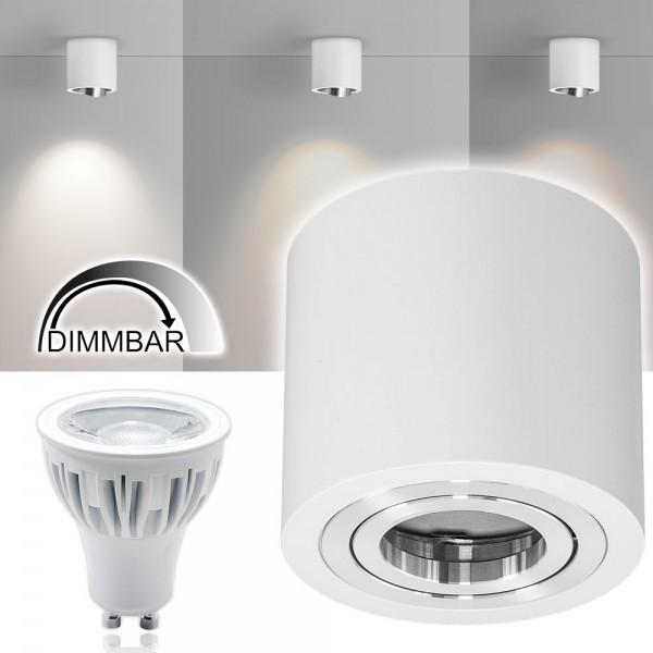 LED Aufbaustrahler Set GLOBE Weiß - 3000K - 7W DIMMBAR - warmweiss - 40° Abstrahlwinkel - schwenkbar - 50W Ersatz - A+ - Aluminium - Aufbauspot