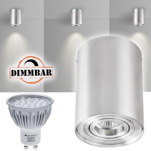 LED Aufbaustrahler Set ZYLINDER Aluminium mit LED GU10  Markenstrahler von LEDANDO - 5W DIMMBAR - warmweiss - 60° Abstrahlwinkel - schwenkbar - 50W Ersatz - A+ - Aluminium - Aufbauspot