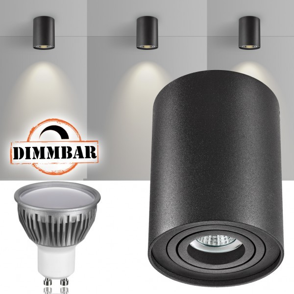LED Aufbaustrahler Set ZYLINDER Schwarz mit LED GU10  Markenstrahler von LEDANDO - 5W DIMMBAR - warmweiss - 110° Abstrahlwinkel - schwenkbar - 35W Ersatz - A+ - Aluminium - Aufbauspot